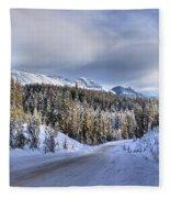 Bow Valley Parkway Winter Conditions Fleece Blanket