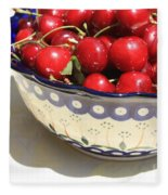 Bowl Of Cherries With Shadow Fleece Blanket