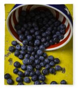 Bowl Pouring Out Blueberries Fleece Blanket