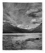 Bowman Lake Black And White Panoramic Fleece Blanket