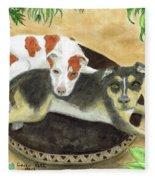 Boxer Hound Cross Dogs Plants Animals Cathy Peek Fleece Blanket