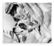 Boy And Dog Hiding Under Blanket Fleece Blanket