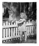 Boy And Girl Talking Over Fence, C.1940s Fleece Blanket