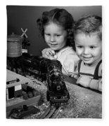 Boy And Girl With Train Set, C.1950s Fleece Blanket