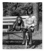 Boy And Orangutan Fleece Blanket