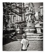Boy At Statue In Sicily Fleece Blanket