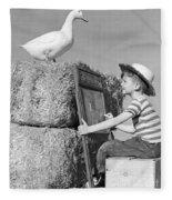 Boy Drawing Duck, C.1950s Fleece Blanket