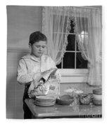 Boy Drying Dishes, C.1950s Fleece Blanket