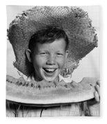 Boy Eating Watermelon, C.1940-50s Fleece Blanket