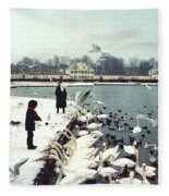 Boy Feeding Swans- Germany Fleece Blanket
