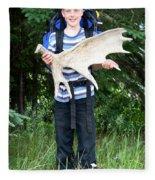 Boy Holding A Moose Antler Fleece Blanket