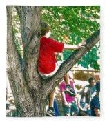 Boy In A Tree Fleece Blanket