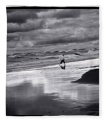 Boy On Shoreline Fleece Blanket