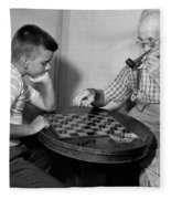 Boy Playing Checkers With Grandfather Fleece Blanket