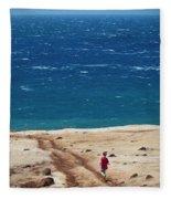 Boy Runs Toward Ocean Fleece Blanket