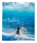 Boy And Wave   Kekaha Beach Fleece Blanket
