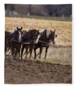 Boy Waiting With Horses Fleece Blanket