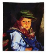 Boy With A Green Cap Also Known As Chico 1922 Fleece Blanket
