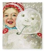 Boy With A Snowman Fleece Blanket