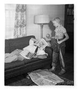 Boy With Baseball Vs. Napping Dad Fleece Blanket