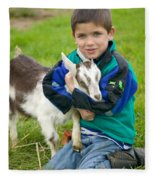 Boy With Goat Fleece Blanket