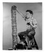 Boy With Huge Stack Of Toast, C.1950s Fleece Blanket