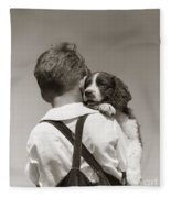 Boy With Puppy, C.1930-40s Fleece Blanket