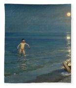 Boys Bathing At Skagen. Summer Evening Fleece Blanket