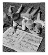 Boys Reading Newspaper Comics, C.1950s Fleece Blanket