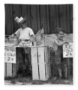 Boys Selling Lemonade, C.1940s Fleece Blanket