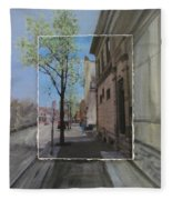 Brady Street With Tree Layered Fleece Blanket