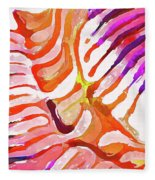 Brain Coral Abstract 6 In Orange Fleece Blanket