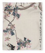 Branch Magpie Painting Fleece Blanket