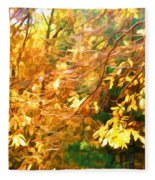 Branch Of Autumn Leaves Fleece Blanket