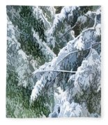 Branches In Winter Season With Fresh Fallen Snow Fleece Blanket