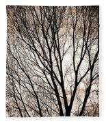 Branches Silhouettes Mono Tone Fleece Blanket