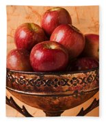 Brass Bowl With Fuji Apples Fleece Blanket