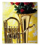 Brass Tuba With Red Roses Fleece Blanket