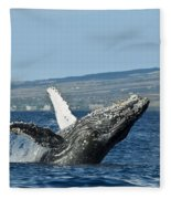 Breach Near Maui I Fleece Blanket