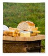 Bread With Butter On Cutting Board Fleece Blanket