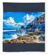 Breakers On The Rocks At Kenridgeview - On - Sea L A S Fleece Blanket