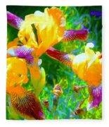 Breakfast Time Oj Irises Fleece Blanket