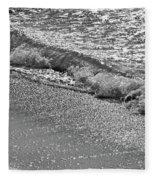 Breaking Wave In Black And White Fleece Blanket