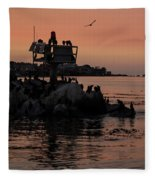 Breakwater Sunset Fleece Blanket