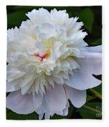 Breathtaking - Festiva Maxima Double White Peony Fleece Blanket