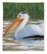 Breeding American White Pelican On Lower Sunshine Fleece Blanket