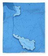 Bremen Bundesland Germany 3d Render Topographic Map Blue Border Fleece Blanket