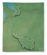 Bremen Bundesland Germany 3d Render Topographic Map Border Fleece Blanket
