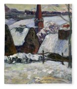 Breton Village Under Snow Fleece Blanket
