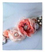 Bridal Sash Belt With Flowers And Rhinestones Fleece Blanket